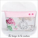 Pochette - soufflet - zippé - rose pale et hortensia11 - GFC
