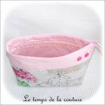 Pochette - soufflet - zippé - rose pale et hortensia12 - GFC