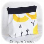 Pochette - soufflet - zippé - bandeau plis plat - noir et rond jaune12 - GFC