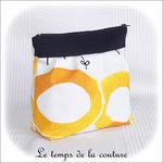 Pochette - soufflet - zippé - bandeau plis plat - noir et rond jaune13 - GFC