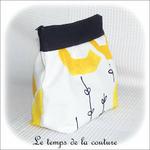 Pochette - soufflet - zippé - bandeau plis plat - noir et rond jaune14 - GFC