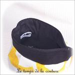 Pochette - soufflet - zippé - bandeau plis plat - noir et rond jaune15 - GFC