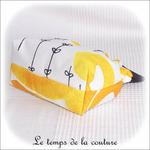 Pochette - soufflet - zippé - bandeau plis plat - noir et rond jaune16 - GFC