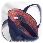 Sac - cabas soufflet - zippé - bleu marine multicolore rouge orange bleu03 - GFC