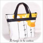 Sac - cabas soufflet - zippé - noir  jaune blanc rond ikea01 - GFC