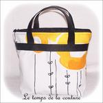 Sac - cabas soufflet - zippé - noir  jaune blanc rond ikea03 - GFC