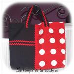 Sac - cabas - zippe - noir et rouge pois blanc01 - GFC