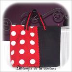 Sac - cabas - zippe - noir et rouge pois blanc03 - GFC