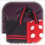 Sac - cabas - zippe - noir et rouge pois blanc04 - GFC