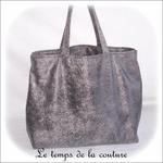 Sac - cabas non zippe - XL - gris simili écru lilas gris01 - GFC