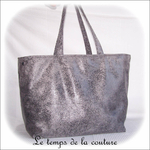 Sac - cabas non zippe - XL - gris simili écru lilas gris02 - GFC