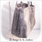 Sac - cabas non zippe - XL - gris simili écru lilas gris03 - GFC