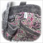 Sac - cabas non zippe - XL - gris simili écru lilas gris05 - GFC