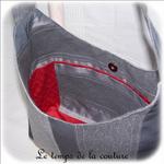 Sac - cabas bandoulière - gris rayure et int rouge03 - GFC