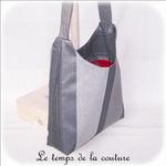 Sac - cabas bandoulière - gris rayure et int rouge05 - GFC