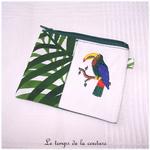 Pochette - droite - zippé - blanc vert feuillage br toucan 01