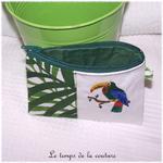 Pochette - droite - zippé - blanc vert feuillage br toucan 03