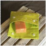 Sdb - pochette savon - vert anis motif etoile 02