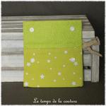 Sdb - pochette savon - vert anis motif etoile 04