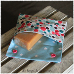 Sdb - pochette savon - bleu turquoise rose motif bulle 01