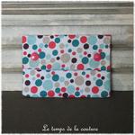 Sdb - pochette savon - bleu turquoise rose motif bulle 05