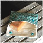 Sdb - pochette savon - bleu turquoise motif fleur sakura 05