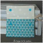 Sdb - pochette savon - bleu turquoise motif fleur sakura 03