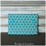 Sdb - pochette savon - bleu turquoise motif fleur sakura 01