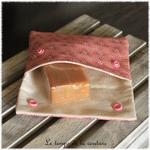 Sdb - pochette savon - rose saumon motif fleur sakura 01