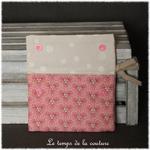 Sdb - pochette savon - rose saumon motif fleur sakura 03