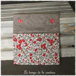 Sdb - pochette savon - ecru rouge taupe gris motif fleur campagne liberty 03