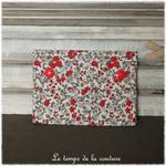 Sdb - pochette savon - ecru rouge taupe gris motif fleur campagne liberty 05