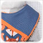 Enfant - bavoir bandana - bleu imp renard dia11 - GFC