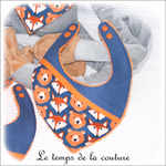 Enfant - bavoir bandana - bleu imp renard dia12 - GFC