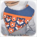 Enfant - bavoir bandana - bleu imp renard hor01 - GFC