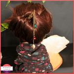 Lot snood pique à cheveux 1 prune turquoise noir 3