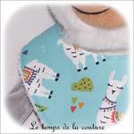 Enfant - bavoir bandana - bleu vert deau imp lama02 - GFC