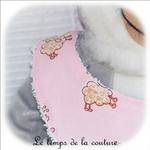 Enfant - bavoir bandana - rose imp mouton02 - GFC