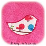 Enfant - bavoir double - rose et motif oiseau03 - GFC