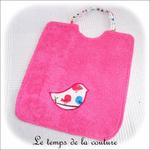 Enfant - bavoir double - rose et motif oiseau04 - GFC