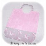 Enfant - bavoir double - rose pale et imp licorne grise01 - GFC