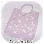 Enfant - bavoir double - rose pale et imp licorne grise04 - GFC
