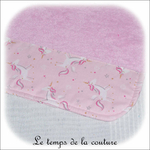 Enfant - bavoir double - rose pale et imp licorne rose02 - GFC