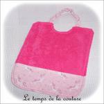 Enfant - bavoir double - rose vif et imp licorne rose01 - GFC