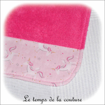 Enfant - bavoir double - rose vif et imp licorne rose02 - GFC