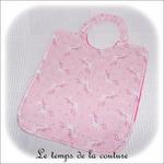 Enfant - bavoir double - rose vif et imp licorne rose04 - GFC