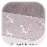 Enfant - bavoir double - gris et imp licorne gris02 - GFC