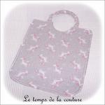Enfant - bavoir double - gris et imp licorne gris04 - GFC