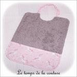 Enfant - bavoir double - gris et imp licorne rose01 - GFC