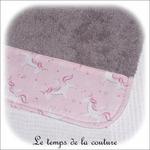 Enfant - bavoir double - gris et imp licorne rose02 - GFC